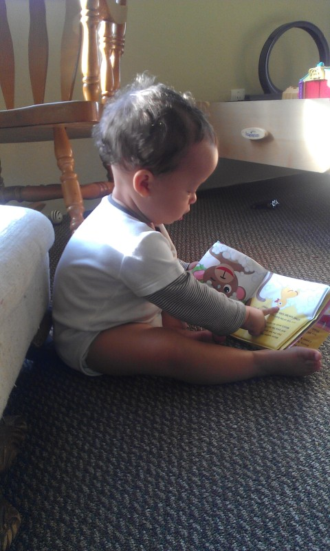 pointing out the duck in his favorite book