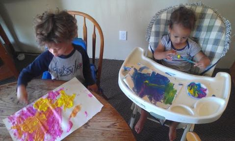 a little painting time with my boys which they love - for about 15 minutes. a ton of mess and effort but worth it  :)