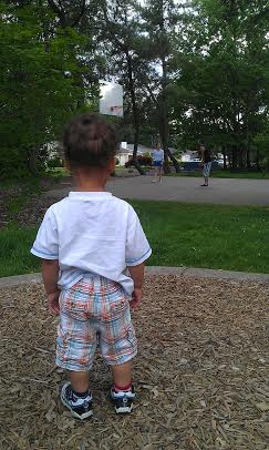 this boy is serious and unwavering in his love for balls. all balls. last week, it was the basketball at the park - watched these folks mesmerized by the ball for several minutes.