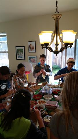 we invited maddie's CC class - and all 13 could come! - to our 2nd annual gingerbread house-making party. so much fun, having these amazing kids all together -they are so special and share such a precious bond.