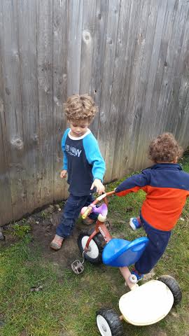 this one nails it. their happy spot: this mud hole in our backyard, and pushing the trike in repeatedly and needing to be a tow truck or crane to rescue the trike. :)))