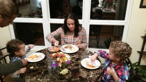 "my sweeties at the ""kid's table' at thanksgiving"